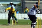 South Africa Under-19 bowler Brent Kopps delivers a ball to New Zealand Under-19 batsman Rob Nicol during his spell of 0-22 from four overs. Umpire Asoka de Silva from Sri Lanka looks on. ICC Under-19 World Cup Super League Group 2: New Zealand Under-19s v South Africa Under-19s at Lincoln Green, Lincoln, 30 January 2002.