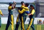 South Africa Under-19 fielders celebrate the dismissal of New Zealand Under-19 batsman Rob Nicol, lbw to Imraan Khan for 51. From left, Brendon Reddy, David Jacobs, Khan and Chad Baxter. ICC Under-19 World Cup Super League Group 2: New Zealand Under-19s v South Africa Under-19s at Lincoln Green, Lincoln, 30 January 2002.