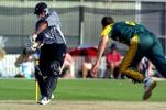 New Zealand Under-19 batsman Jordan Sheed plays a delivery from South Africa Under-19 bowler Ryan McLaren during his innings of 61. ICC Under-19 World Cup Super League Group 2: New Zealand Under-19s v South Africa Under-19s at Lincoln Green, Lincoln, 30 January 2002.