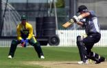 New Zealand Under-19 batsman Jordan Sheed plays and misses a delivery outside off stump during his innings of 61. Wicket-keeper David Jacobs looks on. ICC Under-19 World Cup Super League Group 2: New Zealand Under-19s v South Africa Under-19s at Lincoln Green, Lincoln, 30 January 2002.