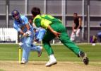 India Under-19 batsman Deepak Chougule plays a delivery from Pakistan Under-19 bowler Arslan Mir to the leg side during his innings of 47. ICC Under-19 World Cup Super League Group 1: India Under-19s v Pakistan Under-19s at Lincoln Green, Lincoln, 31 January 2002.