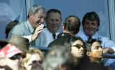 Members of the New Zealand selection panel enjoy watching the match. From left: chairman of selectors Sir Richard Hadlee, New Zealand Cricket operations manager John Reid and selector Brian McKechnie. 3rd ODI: New Zealand v India at Jade Stadium, Christchurch, 1 January 2003.