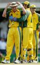 Brett Lee is consolidated after going for 83 runs in his ten overs, Australia v India, VB Series, Brisbane, 5th ODI, January 18, 2004