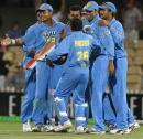India celebrate after pulling off yet another close win against Zimbabwe, India v Zimbabwe, VB Series, 8th ODI, Adelaide, January 24, 2004