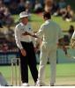 Hansie Cronje argues with umpire Steve Randall over the Mark Waugh not out decision ..Australia v South Africa 3rd Test, Final Day at the Adelaide Oval, Tuesday February 3rd, 1998.