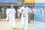 Pakistani opening batsmen Shahid Afridi and Naved Ashraf going in to bat, Board President's XI v  Pakistan, Day 1, Kochi