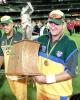 Australian batsman Mark Waugh carries the trophy after Australia won the 2nd one-day final against the West Indies to take out the series 2-0 at the MCG in Melbourne 09 February 2001. Australia amassed the huge total of 338-6 with Mark Waugh topscoring with 173 and in reply the West Indies scored 299 to lose by 39 runs. Waugh faces a meeting tomorrow 10 February with the ICC anti-corruption unit looking into allegations that Waugh was taking bribes from an Indian book-maker.