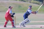 Auckland opening batsman Shelly Fruin cuts a ball through backward point during her innings of 97 while Canterbury wicket-keeper Jo Strachan looks on. State Insurance Cup Final: Canterbury Women v Auckland Women at Village Green, Christchurch, 10 February 2001.