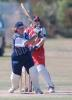 Auckland opening batsman Shelly Fruin swings a ball away through forward square leg during her innings of 97 while Canterbury wicket-keeper Jo Strachan looks on. State Insurance Cup Final: Canterbury Women v Auckland Women at Village Green, Christchurch, 10 February 2001.