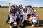 The Auckland women's team celebrate their victory in the 2000/01 State Insurance Cup. They defeated Canterbury by five wickets to defend the title. State Insurance Cup Final: Canterbury Women v Auckland Women at Village Green, Christchurch, 10 February 2001.