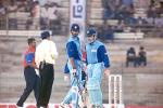 Kapoor and Rathour have a mid pitch conference. Challenger Series 2000/01, India v India 'B' at MA Chidambaram Stadium, Chepauk, Chennai, 13 Feb 2001