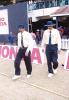 The umpires SK Tarapore and S Lakshmanan make their way into the middle. Challenger Series 2000/01, India v India 'B' at MA Chidambaram Stadium, Chepauk, Chennai, 13 Feb 2001