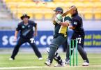 Pakistan batsman Inzamam-ul-Haq plays a cut shot at a ball from New Zealand medium pace bowler Chris Harris, only to top edge it straight to Roger Twose (lining it up in the background at short third man) to be dismissed for 12. Wicket-keeper Adam Parore looks on behind the stumps. 3rd One-Day International: New Zealand v Pakistan at WestpacTrust Stadium, Wellington, 22 February 2001.