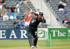 New Zealand batsman Roger Twose swings and misses to be bowled by Pakistan fast medium bowler Azhar Mahmood for 42. 4th One-Day International: New Zealand v Pakistan at Jade Stadium, Christchurch, 25 February 2001.