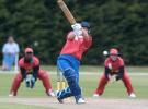 Namibia Under-19 Michael Greeff hits a delivery down the ground during his innings of 43. 1st ICC Under-19 World Cup Plate Championship Semi Final: Namibia Under-19s v Zimbabwe Under-19s at Lincoln No. 3, Lincoln, 4 February 2002.