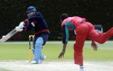 Nepal Under-19 batsman Yashwant Subedi cuts a delivery from Zimbabwe Under-19 bowler Alfred Mbwembwe during his innings of five. ICC Under-19 World Cup Plate Championship Final: Nepal Under-19s v Zimbabwe Under-19s at Lincoln No. 3, Lincoln, 8 February 2002.