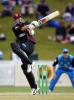 Northern Districts batsman Simon Doull pulls a delivery standing on one leg during his innings of 80. Tour match: Northern Districts v England at WestpacTrust Park, Hamilton, 8 February 2002.