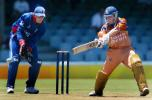 Border Bears Steven Pope hits out as England's wicket keeper Marcus Trescothick during their World Cup warm up match against Border Bears at Buffalo Park in East London, South Africa, February 6, 2003.