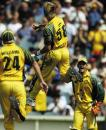 Brett Lee leaps high in the air after dismissing Yuvraj Singh
