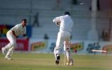 Pushpakumara bowls out Shahid Afridi in the 2nd innings, Pakistan v Sri Lanka, 3rd Test at Karachi, 12-16 March 2000