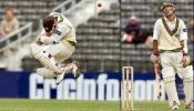 Yousuf Youhana takes evasive action to avoid a bouncer from paceman Daryl Tuffey and then laughs out, day 3, 2nd Test at Christchurch, 15-19 March 2001.