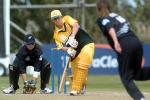 Australia Women batsman Michelle Goszko plays a delivery from New Zealand Women bowler Frances King to the leg side during her innings of 48. Wicket-keeper Rebecca Rolls looks on. 2nd WODI: New Zealand Women v Australia Women at Bert Sutcliffe Oval, Lincoln, 3 March 2002.