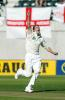 Drum celebrates the dismissal of Hussain. 1st Test: New Zealand v England at Christchurch, 13-17 Mar 2002