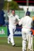 New Zealand bowler Chris Drum celebrates the dismissal of England batsman Mark Ramprakash, bowled in his second innings for 11. 1st Test: New Zealand v England at Jade Stadium, Christchurch, 13-17 March 2002 (15 March 2002).