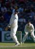 Horne avoids a short delivery from Caddick. 1st Test: New Zealand v England at Christchurch, 13-17 Mar 2002