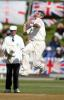 England bowler Andrew Caddick delivers a ball during his second innings spell of 0-31 from 17 overs as umpire Steve Dunne looks on. 2nd Test: New Zealand v England at Basin Reserve, Wellington, 21-25 March 2002 (25 March 2002).