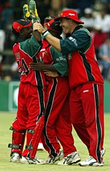 Zimbabwe celebrate as they close in on victory in the deciding ODI at Harare © AFP