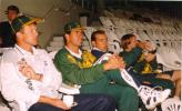Standard Bank tournament final, abandoned game on 22 April 1998 at Newlands, Cape Town SA. Corrie van Zyl (Fitness Coach), Hansie Cronje (Captain), Jacques Kallis and Mike Rindel relaxing at Newlands while waiting for the rain to stop.
