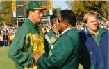 UCB President Krish Mackerdhuj congratulates Hansie Cronje. Looking on is Mike Rindel. Standard Bank Triangular series final South Africa v Pakistan at Newlands 23 April 1998