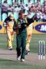 12 Apr 2000: Shaun Pollock of South Africa, captaining the side following the sacking of Hansie Cronje, adjusts his field during the first game of the One Day International Series between South Africa and Australia at Kingsmead, Durban, South Africa.