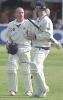 Lancashire heroes Fairbrother and Keedy at the end of the Lancashire innings
