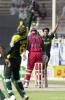 Pakistani wicketkeeper and captain Rashid Latif (L) celebrates his catch of Zimbabwe batsman Gavin Rennie (C) on the bowling of Mohammad Sami celebrates his third wicket during the final match of the Four Nation Sharjah Cricket Tournament, 10 April 2003.