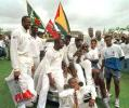 West Indies players celebrate their victory on the fifth day of the final Test