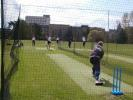 Hampshire players take an opportunty to practice between showers at The Parks