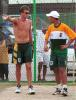 Corrie van Zyl and Justin Ontong in the nets