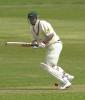Leics skipper Vince Wells squeezes a ball down on a greenish wicket at Derby