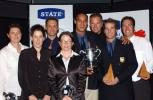 Major winners with their awards. From left: Natalee Scripps (women's bowler of the year), Helen Watson (Crown Relocations first grade women's cricketer of the year), Geoffrey Waterhouse (Crown Relocations first grade men's cricketer of the year), Emily Drumm (women's batsman of the year), Tama Canning (men's bowler of the year and State Auckland cricketer of the year), Aaron Barnes (men's batsman of the year), Reece Young (Vector young cricketer of the year) and Bradford Leonard (Crown Relocations premier men's player of the year). Auckland Cricket Association awards dinner at the ASB Bank Lounge, Eden Park, Auckland, 2 April 2003.