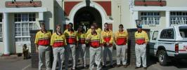 The Zimbabwe World Cup team before their welcome home parade in Harare The players present were:  Eddo Brandes, Alistair Campbell, Grant Flower, Murray Goodwin, Adam Huckle,  Mpumelelo Mbangwa, Henry Olonga, Heath Streak, Dirk Viljoen and Guy Whittall, as well as coach, Dave Houghton, and Malcolm Jarvis.