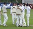 Durham's Steve Harmison gets the congratulations on the wicket of Rob Bailey