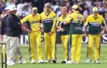 Steve Waugh leads his team off the field after missiles were thrown at his players