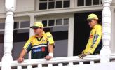 Adam Gilchrist and Mark Waugh survey the scene after Steve Waugh led his team off the field