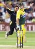 Waqar Younis celebrates the wicket of Mark Waugh