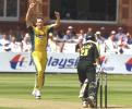 Glenn McGrath celebrates taking the wicket of Saleem Elahi, final ODI at Lords, 23 June 2001.