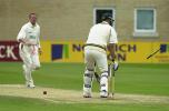 Greg Smith of Notts is clean bowled by Cork for 27 to close the Notts second innings, Notts v Derby, County Championship, 15 Jun 2002