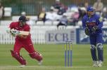 Ryan Driver with a nudge down the off side, Dernyshire v Lancashire June 2002