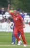 Lancashire's John Wood lets his feelings be known after bowling Andrew Gait for 16, Dernyshire v Lancashire June 2002
